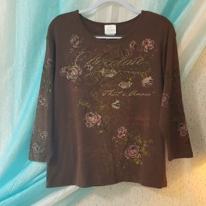 """EUC Endless Designs """"Chocolate that's amore"""" Top"""